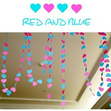 4m Colorful Heart Paper Wedding Party Banners Decoration Garland Handmade Children Room Wall Hangings Props Decoration QB674231(China)