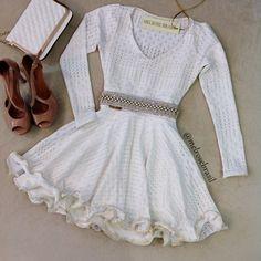 Vestido Boneca Camilla no Jacquard P. Manga Longa ( COR OFF WHITE) - Melrose…