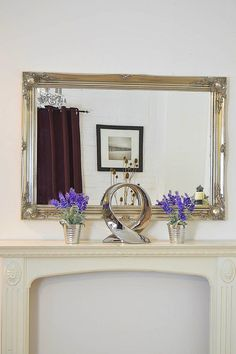 Large Silver Vintage Antique Style Overmantle Wall Mirror Premium Quality Glass