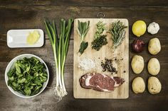 Stock Photo : Table with ingredients and seasonings