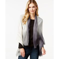 Calvin Klein Tie Dye Border Oblong Scarf ($20) ❤ liked on Polyvore featuring accessories, scarves, denim, calvin klein, ombre scarves, long shawl, long scarves and oblong scarves