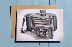 Vintage Camera Illustration, Zeiss Ikon, Note Card x1 with envelope by illustratorlaura on Etsy https://www.etsy.com/listing/130494963/vintage-camera-illustration-zeiss-ikon