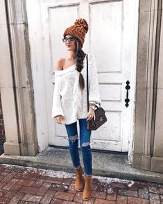 Love the loose knit and off-shoulder and the color is perfect to wear in multiple seasons!