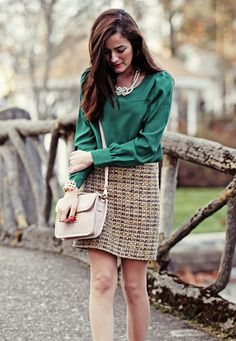 Love the texture on the tweed skirt.