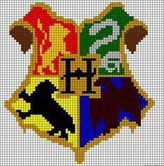 harry-potter-patterns-chart-free-hogwarts Pixel Art Harry Potter, Harry Potter Perler Beads, Harry Potter Crochet, Harry Potter Minecraft, Cross Stitching, Cross Stitch Embroidery, Cross Stitch Designs, Cross Stitch Patterns, Beading Patterns