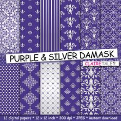 Damask digital paper PURPLE & SILVER DAMASK with by ClaireTALE