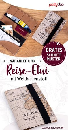 Gratis Schnittmuster und DIY-Anleitung für ein Reise-Etui – praktische Fächer … Free sewing pattern and DIY guide for a travel case – practical compartments for passports, tickets, etc. – Tutorial to sew on yourself – Great gift idea for the world trip! Sewing Patterns Free, Free Sewing, Sewing Tutorials, Free Pattern, Sewing Projects, Purse Patterns, Rubber Bands, Best Gifts, About Me Blog