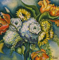 "For Sale: Blue and Yellow Bouquet by Debra Bucci | $250 | 12""w x 12""h 