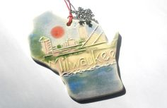 MILWAUKEE WISCONSIN ORNAMENT original design by FaithAnnOriginals, $24.00