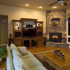 corner fireplace designs with tv above Google Search Living