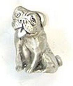 Animal Cabinet Hardware   Rosalie Sherman Designs Sitting Dog Cabinet Knob  Bulldog PewterTER