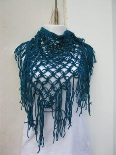 Teal fashionable triangle scarf/shawl by Elegantcrochets on Etsy, $19.90