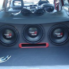 Thanks to for this beastly setup with Cerwin Vega Mobile HED series subwoofers. Get ready to hear the roar from blocks away. The High Energy Design subwoofers are designed to be best in class! Performance and reliability has always been sy Fi Car Audio, Custom Car Audio, Custom Cars, Custom Subwoofer Box, Subwoofer Box Design, Car Speaker Box, Car Audio Installation, Vanz, Car Audio Systems