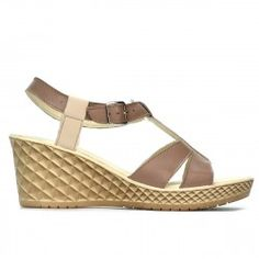 Sandale dama 5065 capucino combinat Wedges, Shoes, Products, Fashion, Lady, Sandals, Moda, Zapatos, Shoes Outlet