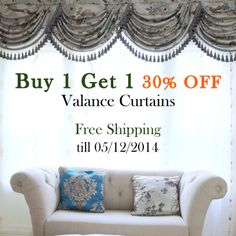 Celuce Design - get your dream curtains at our May Sale! Best discounts of the year! Buy 1 Get 1 30% OFF valance curtains + Free shipping. till 05/12/2014  www.celuce.com Elegant Curtains, Buy 1 Get 1, Victorian Fashion, Picture Quotes, Valance Curtains, Dreaming Of You, Swag, Free Shipping, Stuff To Buy