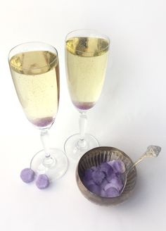 Recipe for the luscious Lavender Champagne Cocktail. First make lavender sugar cubes, then top with sparkling wine or champagne.