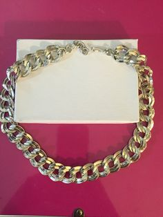 Silver Tone Infinity Chunky Necklace by Monet