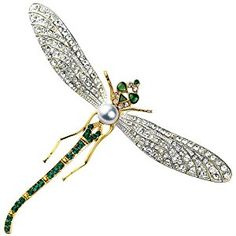 Dragonfly Brooch Swarovski Crystal Version of Diamond, Platinum & Emerald Pin with Pearl, 22K Gold Overlay  Product ViewSee larger image and other views (with zoom)Check All OffersAdd to Wish ListCustomer ReviewsFeaturesGorgeous Dragonfly Pin inspired by Russian jewelers of the early twentieth http://ecx.images-amazon.com/images/I/51%2BL1HHpI2L._SL300_.jpg http://electmejewellery.com/jewelry/brooches-pins/dragonfly-brooch-swarovski-crystal-version-of-diamond-platinum-emerald-