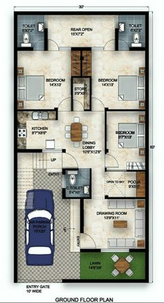 Front Elevation, House Plans, Floor Plans, Flooring, How To Plan, Home Plans, Apartments, Facades, Wood Flooring