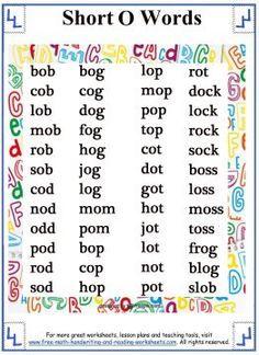 Short Vowel Sound - Word Lists - Short O