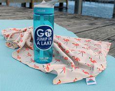 "24"" x 40"" flamingo organic cotton t-shirt hair towel"