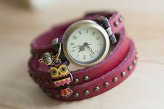 "Polshorloge - ""Petit owl""armband horloge-rood - Een uniek product van allthepetitsthings op DaWanda"
