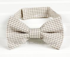 Boy's Bow Tie, Newborn, Baby, Child- Khaki Gingham Seersucker | Toma's Tutus and Things