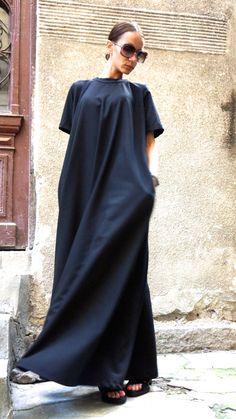 XXL XXXL Maxi abito / nero Kaftan / stravaganti lungo di Aakasha