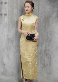 Yellow Ankle-length Cheongsam / Qipao / Chinese Dress