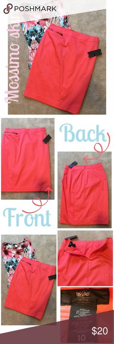 NWT Mossimo stretch pencil skirt in coral Perfect skirt for the office..NWT Mossimo stretch pencil skirt in coral..zipper in the back..zippered pocket in the front is for decor and not a true pocket..inner lining.. waist measures 16 in flat, 23 in length...new with tags, only worn to try on.  ⚓️NO TRADES⚓️ Mossimo Supply Co Skirts Pencil