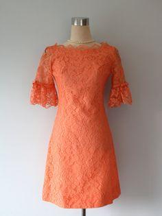 1950s Dress // Vintage SYLVIA ANN Orange by FoxyBritVintage,
