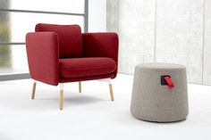 Make a statement with the striking and comfortable Arlo Lounge chair. Pair it with a 2 or 3 seat sofa to complete the look. Designed by Most Modest. Learn more at hightoweraccess.com #interiordesign #sofaseries #arlo