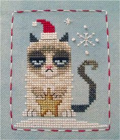 Merry Christmas, Grumpy Kitty! This is a complimentary cross stitch chart by Brooke Nolan of Brooke's Books. You can find it on my freebies page here: http://www.brookesbooks.com/CrossStitchFreebies.html Happy Stitching everyone!