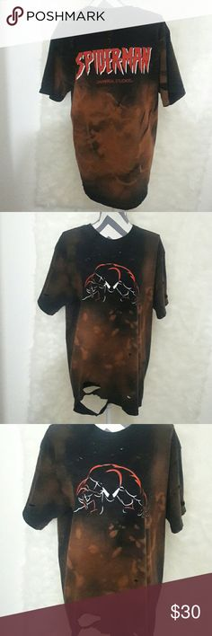 Unisex Distressed bleached  Spider-Man shirt Customize  made by me cute universal studios Spider-Man tshirt cute with thigh-highs and fishnets l!!!or can be for a guy also size large in mens spiderman words are back of shirt Spiderman Tops Tees - Short Sleeve
