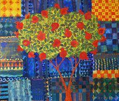 Chanan Mazal ~ Pomegranate Tree, Oil on Canvas Words On Canvas, Oil On Canvas, Pomegranate Art, Jewish Art, Animal Sketches, Pattern Art, Art World, Printmaking, Jewelry Art