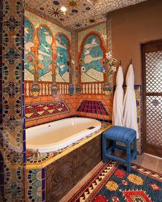 Inn of Five Graces - Santa Fe, New Mexico Travel New Mexico, Mexico Style, Santa Fe Style, Hacienda Style, Bathroom Colors, Colorful Bathroom, Bathroom Ideas, Santa Fe Nm, Spanish Style