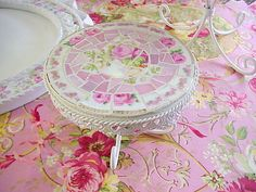 broken china mosaic small dessert pedestal vintage china and pink glass with crystal drops (sold)