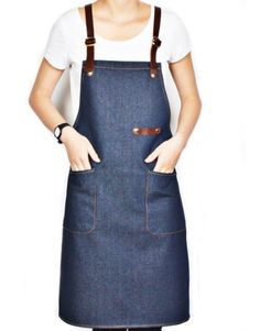 Blue Denim Apron with Leather Straps. Suitable for Uniforms of Barber,Barista,Bartender,Stylist,Chef,Waiter/Waitress,Florist,Painter,Gardener, or Work ware of Tattoo shop,Craft workshop etc.
