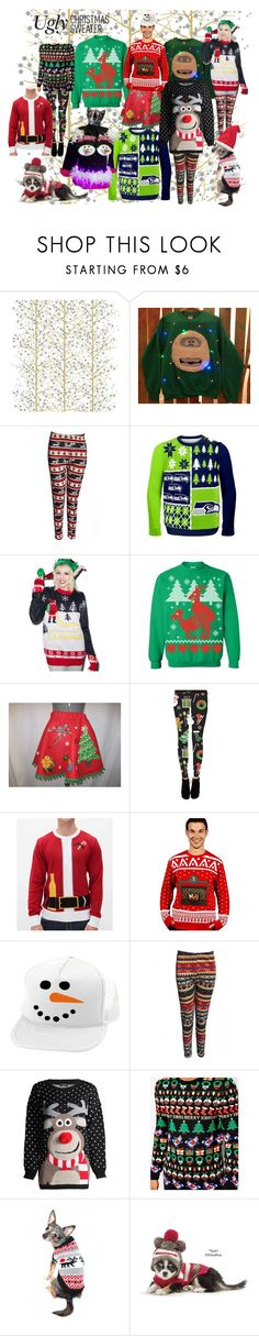 """""""Ugly Christmas Sweater Something to Howl About"""" by sandyspider ❤ liked on Polyvore featuring Caspari, Tipsy Elves, Episode, Ugly Christmas Sweater, ASOS, Hanna Andersson, uglychristmassweater and polyvoreeditor"""