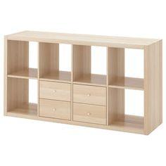 IKEA KALLAX Shelving unit with 4 inserts White stained oak effect 147 x 77 cm Ikea Kallax Shelving, Kallax Shelf Unit, Kallax Hack, Storage Shelving, Ikea Regal, Ikea Kallax Regal, Ikea Entertainment Center, Ikea Eket, Liatorp