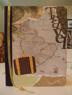 Travel journal. Composition book, scrapbook paper, mod podge glue.
