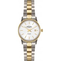 Rotary Women's Quartz Watch with White Dial Analogue Display and Gold Stainless Steel Bracelet LB02736/02