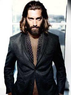 Men's Fashion Brands, Fashion Models, Mens Fashion, Moustaches, Hair And Beard Styles, Long Hair Styles, Beard Model, Long Beards, Beach Hair