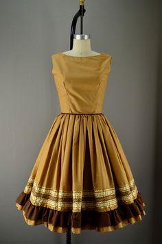 Fun 60s summer dress size small 1960s golden brown FULL skirt ric rac Ribbon sleeveless. $68.00, via Etsy.