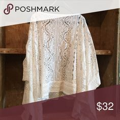 White Lace Poncho OS Tops