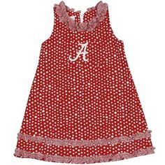 Alabama Crimson Tide Infant Girls Ruffle Polka Dot Dress - Crimson