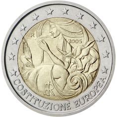 Italy 2005. 1st anniversary of the signing of the European Constitution The centre of the coin features Europa and the bull, with Europa holding a pen and the text of the European Constitution. The initials of engraver Maria Carmela Colaneri, 'MCC', appear on the lower left edge of the coin's central part. Issuing volume: 18 million coins - October 2005