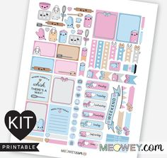 Bakery Kawaii Bunny Stickers Weekly Planner Kit by HelloMeowey