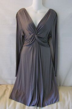 97567fe1c8cb7 New!~nwt!~max studio~gray stretch long sleeve v-neck dress~womens size  large l