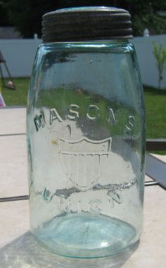 RARE Antique 1870's Union Shield Mason Jar Quart Size Original Glass Zinc Lid   eBay